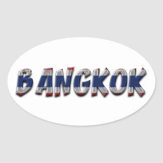 Bangkok Thailand Thai Flag Colors Typography Oval Sticker