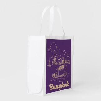 Bangkok, Thailand travel poster Reusable Grocery Bag