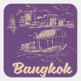 Bangkok, Thailand travel poster Square Sticker