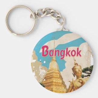 Bangkok Vintage Travel Poster Keychain