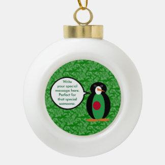 Bangladeshi Holiday Mr. Penguin Ceramic Ball Christmas Ornament