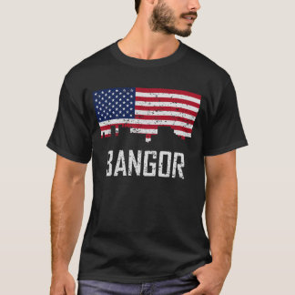 Bangor Maine Skyline American Flag Distressed T-Shirt
