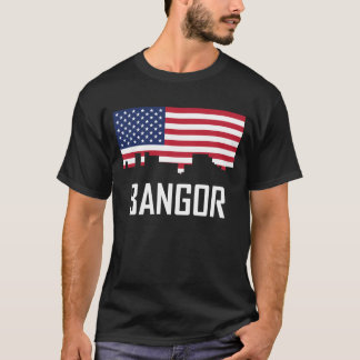 Bangor Maine Skyline American Flag T-Shirt