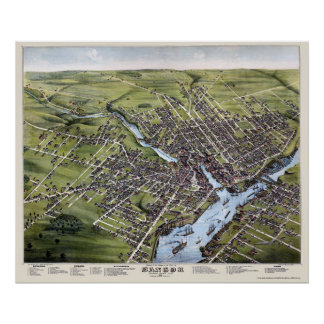 Bangor, ME Panoramic Map - 1875 Poster