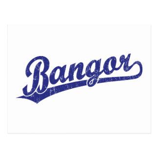 Bangor script logo in blue postcard