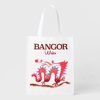Bangor Wales Dragon poster Reusable Grocery Bag