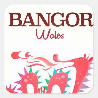Bangor Wales Dragon poster Square Sticker