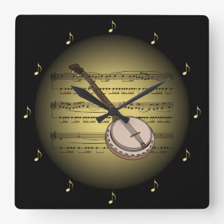 Banjo 3-D Gold Globe ~ Sheet Music ~ Black BG ~ * Square Wall Clock