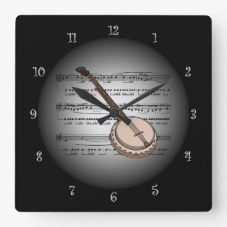 Banjo ~3-D Sheet Music ~Silver & Black Background Square Wall Clock