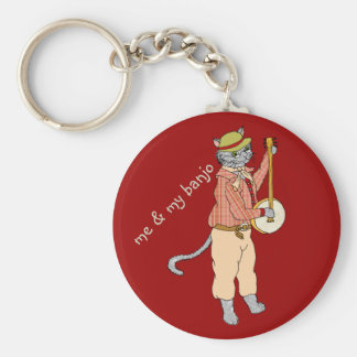 Banjo Cat on the Move Basic Round Button Keychain