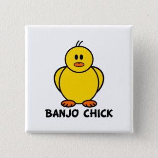 Banjo Chick 2 Inch Square Button