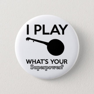 banjo design 2 inch round button