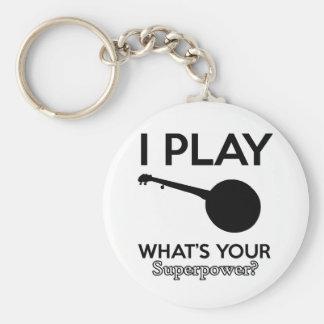 banjo design basic round button keychain