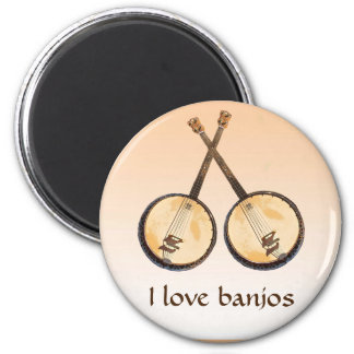 Banjo Music Instrument Orange Magnet