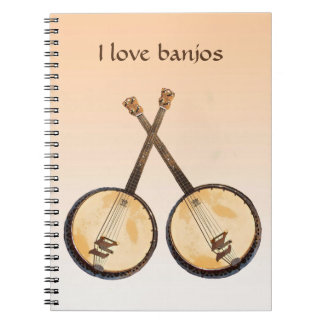 Banjo Music Instrument Orange Notebook