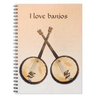 Banjo Music Instrument Orange Notebook