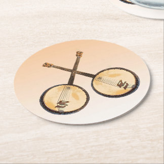 Banjo Music Instruments Paper Coasters