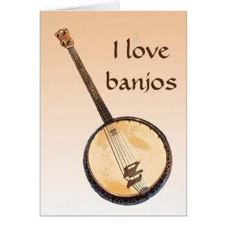 Banjo Musical Instrument Orange Blank Card