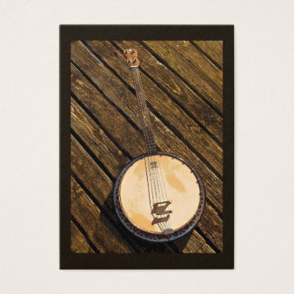 Banjo on Wood Music Instrument  ATC Business Card