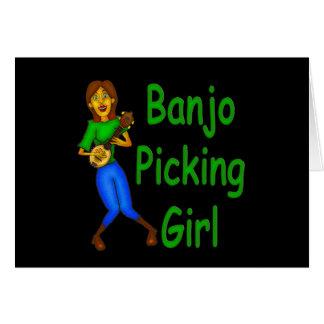 Banjo Picking Girl Card