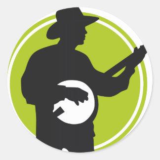 Banjo player classic round sticker