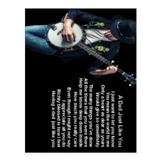Banjo Player Dad Poem Postcard