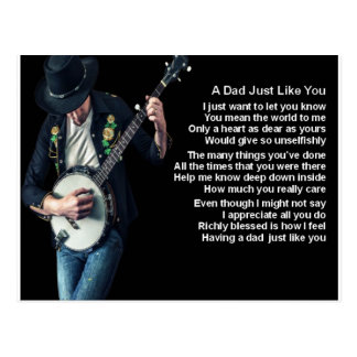 Banjo Player Dad Poem Postcard