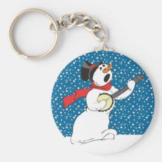 Banjo Snowman Basic Round Button Keychain