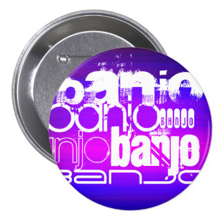 Banjo; Vibrant Violet Blue and Magenta 3 Inch Round Button