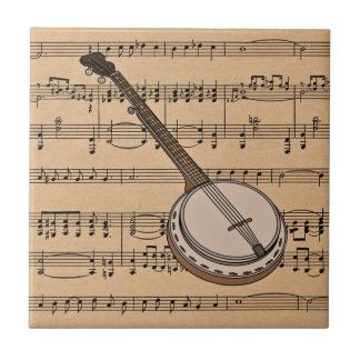 Banjo With Sheet Music Background Tile