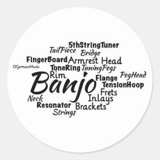 Banjo Word Cloud Black Text Classic Round Sticker