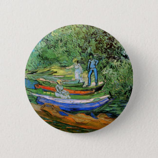 Bank of the Oise at Auvers by Vincent van Gogh 2 Inch Round Button