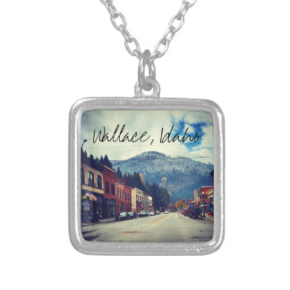 Bank Street in Wallace Idaho Silver Plated Necklace