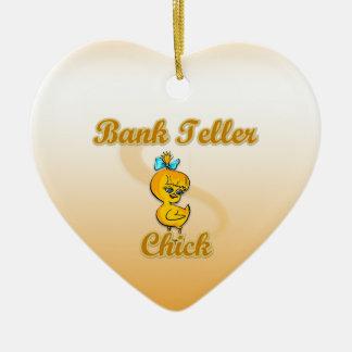 Bank Teller Chick Ceramic Ornament