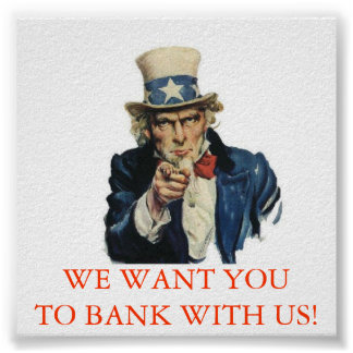 BANK WITH US POSTER
