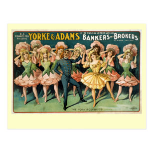 Bankers and Brokers Vintage Theatre Poster Postcard