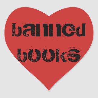 Banned Book Love Heart Stickers Red