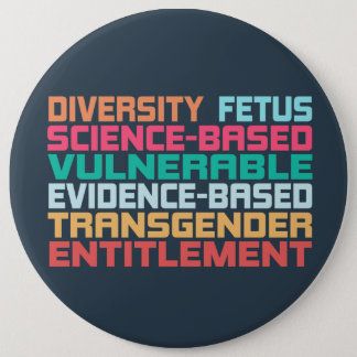 Banned Words 6 Inch Round Button