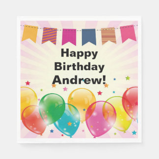 Banner and Balloons Birthday Party Paper Napkin
