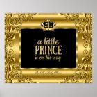 Banner Baby Shower Little Prince Gold Black 3 Poster