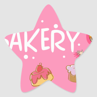 Banner design with baker and cake star sticker
