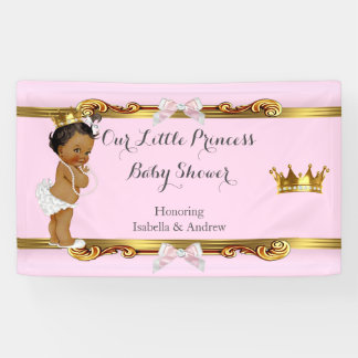 Banner Ethnic Princess Baby Shower Pink White Gold