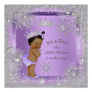 Banner Princess Baby Shower Lilac Ethnic Poster