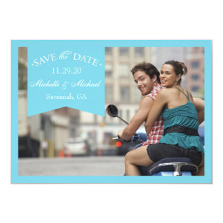 """Banner Save The Dates (Blue) 5"""" X 7"""" Invitation Card"""