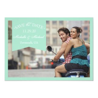 """Banner Save The Dates (Green) 5"""" X 7"""" Invitation Card"""