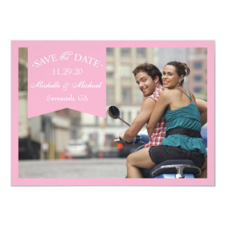 """Banner Save The Dates (Pink) 5"""" X 7"""" Invitation Card"""