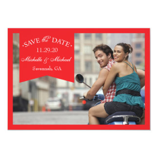 """Banner Save The Dates (Red) 5"""" X 7"""" Invitation Card"""