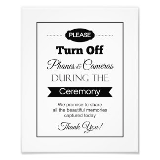 Banner Turn Off Phones and Cameras Wedding Sign