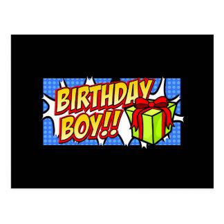Bannière de garçon d'anniversaire cartes postales