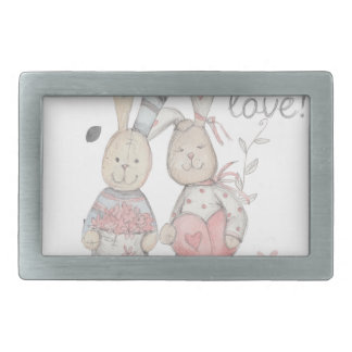 banny rabbit couple 2 belt buckle